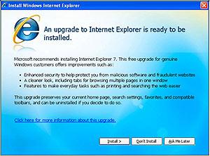 Microsoft puede crear una actualización obligatoria a IE7 a los Windows de las empresas