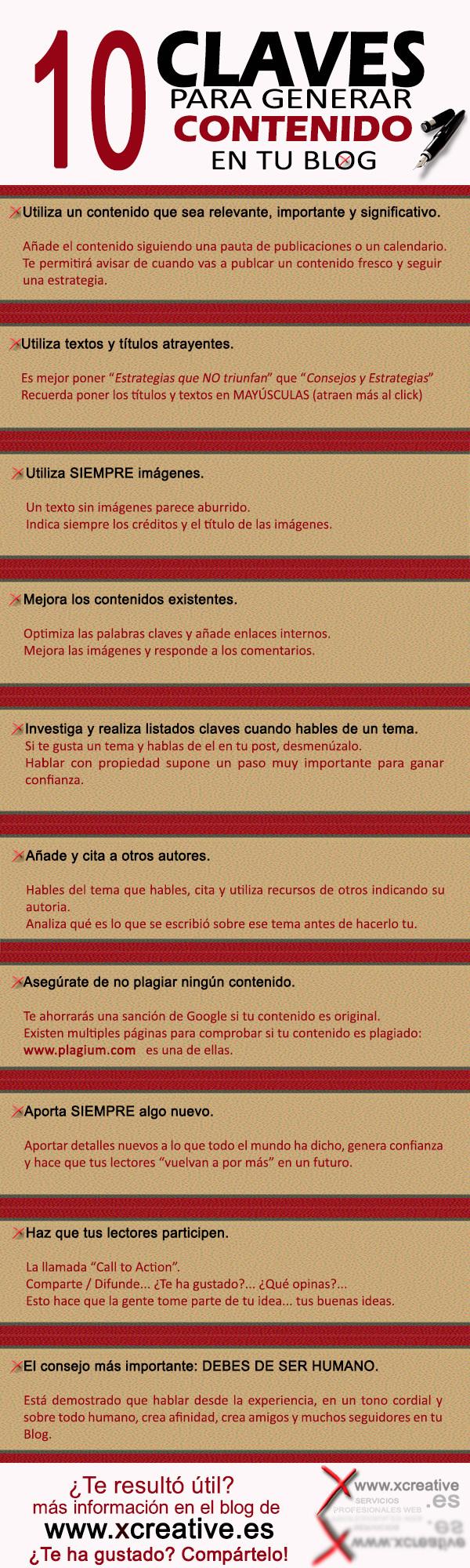 infografia 10 claves para generar contenido para tu blog