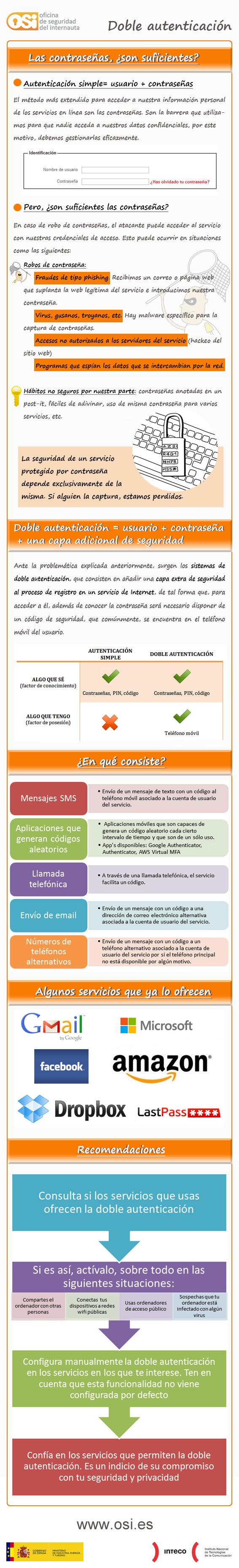 Seguridad doble autenticación #Infografia