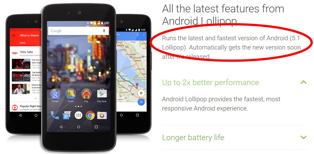 Lollipop 5.1 Android One