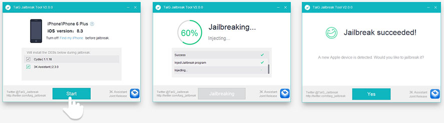 Untethered iOS Jailbreak Tutorial 8.1.3-8.3 for iPad or iPhone TAIG Step 4