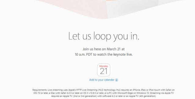 Cómo seguir en directo la Keynote de Apple del 21 de marzo en PC con Windows, Android, iOS y Mac