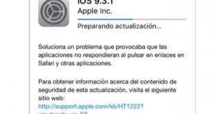 Descargar iOS 9.3.1 Cómo instalarlo para solucionar el error de Safari