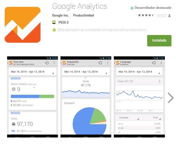 Actualización Google Analytics para Android. Antiguo diseño