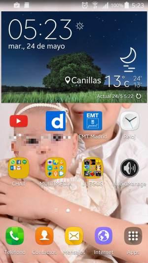 Nuevo Touchwiz sin lags aparentes, con los iconos actualizados con la estética del Samsung Galaxy S7.