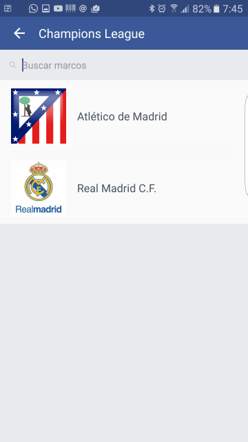 Champions League Real Madrid Atlético de Madrid en Facebook