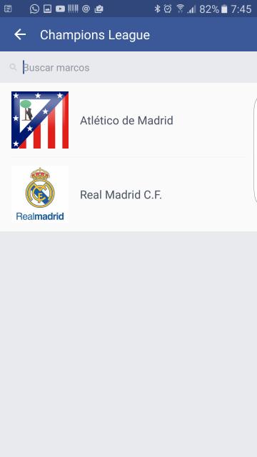 Champions League Real Madrid Atlético de Madrid en Facebook