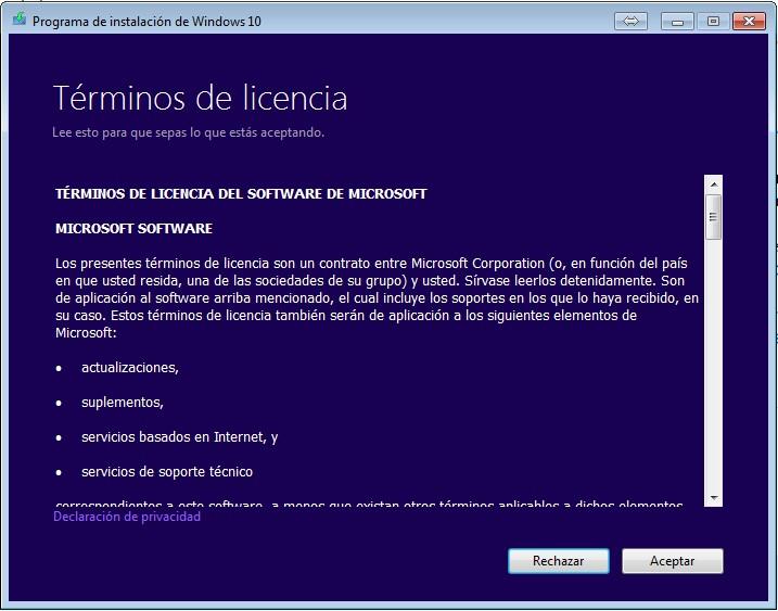 ¿Cómo actualizar o instalar Windows 10 desde un DVD o USB? Herramienta de creación de medios de Microsoft paso 1