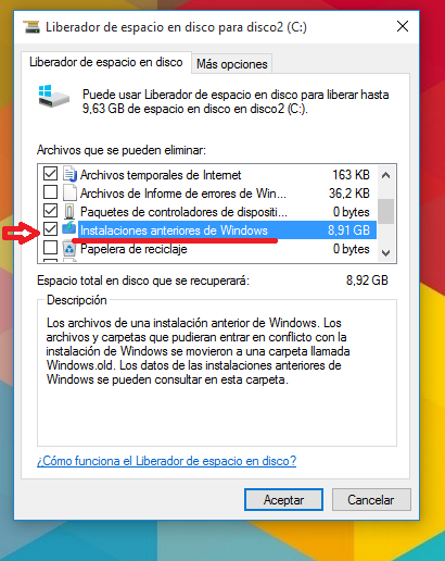 ¿Cómo recuperar espacio en Windows 10? Borrar el Windows antiguo