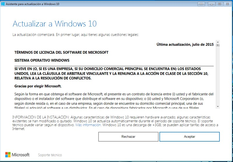 ¿Cómo actualizar o instalar Windows 10 en tu PC con el el lanzador Windows 10 Upgrade? paso 1
