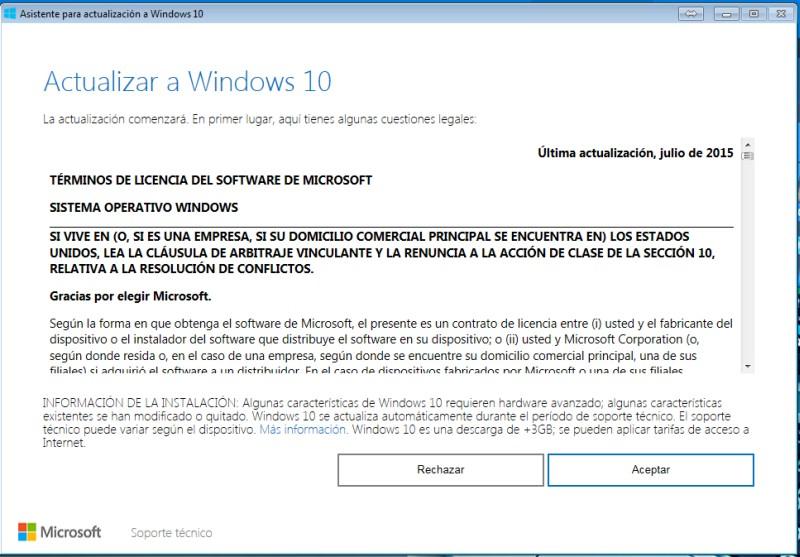 ¿Cómo actualizar o instalar Windows 10 en tu PC con el el lanzador Windows 10 Upgrade? paso 1