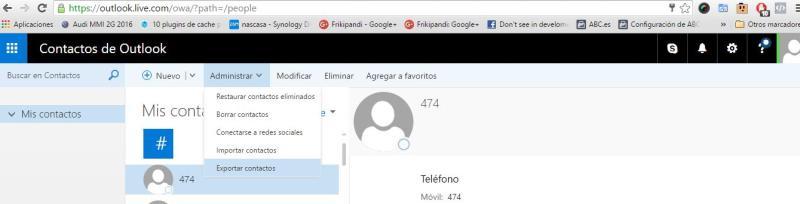 Exportando contactos desde Windows Phone