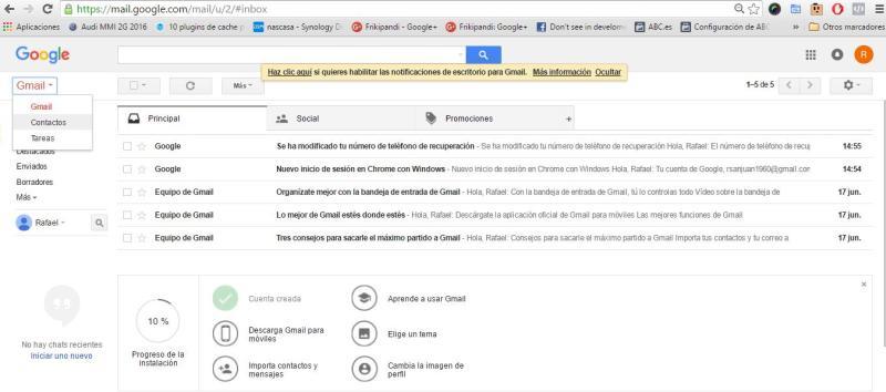 Sincronizando mis contactos en Gmail desde Outlook o Hotmail