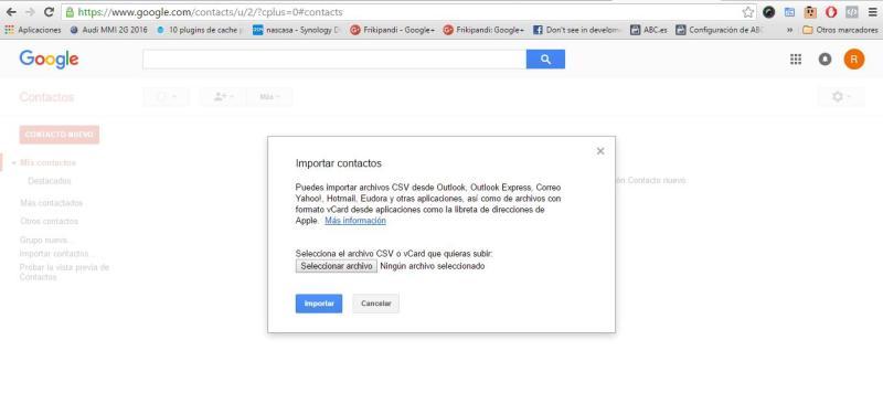Añadiendo los contactos a Android gmail