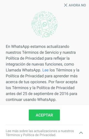 whatsapp condiciones inicio