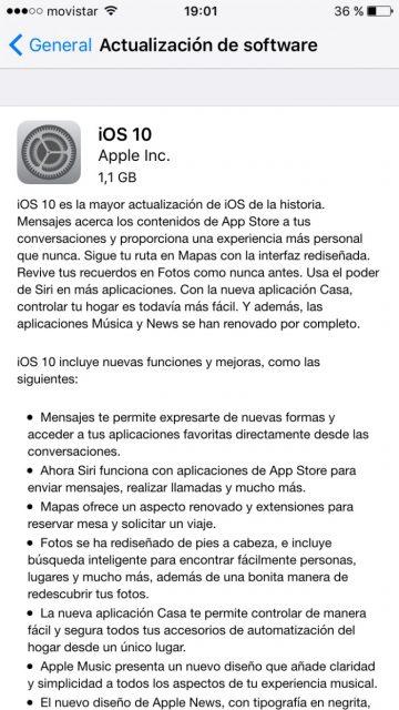 Mensaje actualizar iOS 10