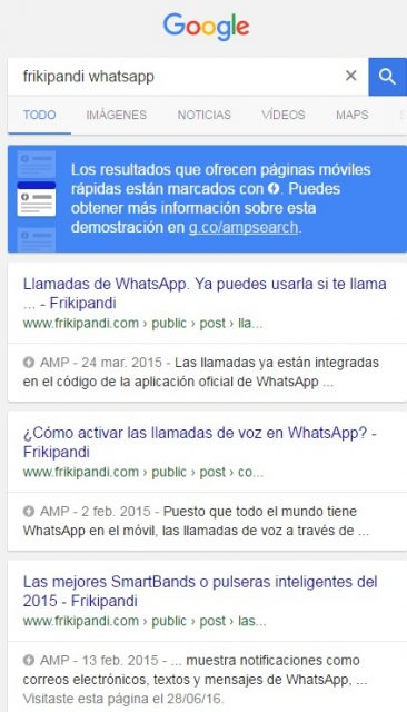 Tercer boletín informativo de Accelerated Mobile Pages (AMP). Busqueda amp whatsapp Frikipandi
