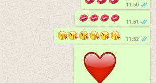 WhatsApp 2.16.256 con emojis más grandes y el corazón late animadamente.