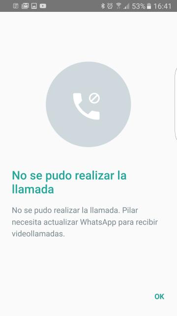 Whatsapp no puede hacer una videollamada. Razones