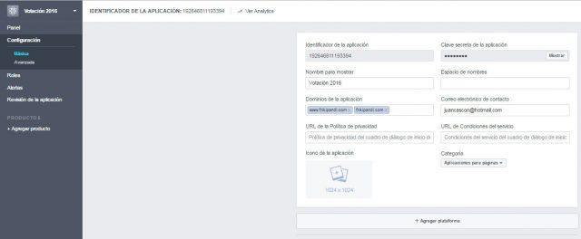 ponemos nuestros dominios app facebook