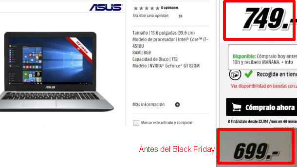 Estafa Media Markt Black Friday