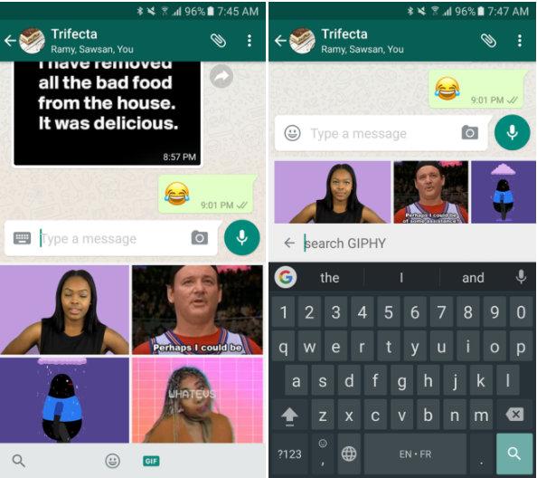WhatsApp añade búsqueda de GIF
