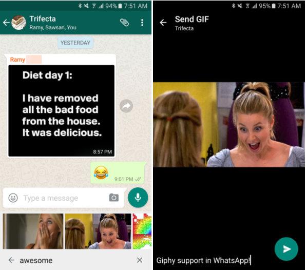 WhatsApp añade búsqueda de GIF a través Giphy