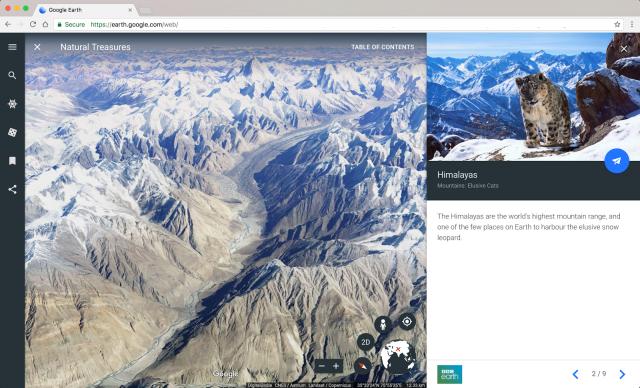 Google presenta el nuevo Google Earth. Día Mundial de la Tierra. Camina junto al leopardo de nieve en la guía Natural Treasures de la BBC.