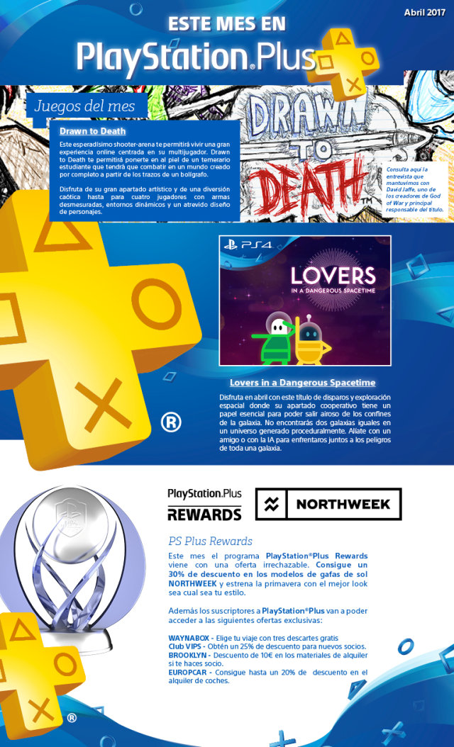 Este mes en PlayStation Plus gratis los juegos Drawn to Death y Lovers in a Dangerous Spacetime en Abril 2017