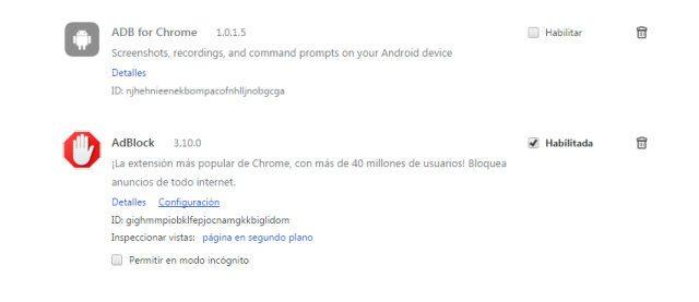 Controlar las extensiones instaladas en Chrome