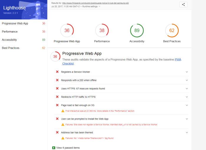 lighthouse resultados wpo. Prueba la velocidad de tu sitio en dispositivos móviles para mejorar el WPO y SEO