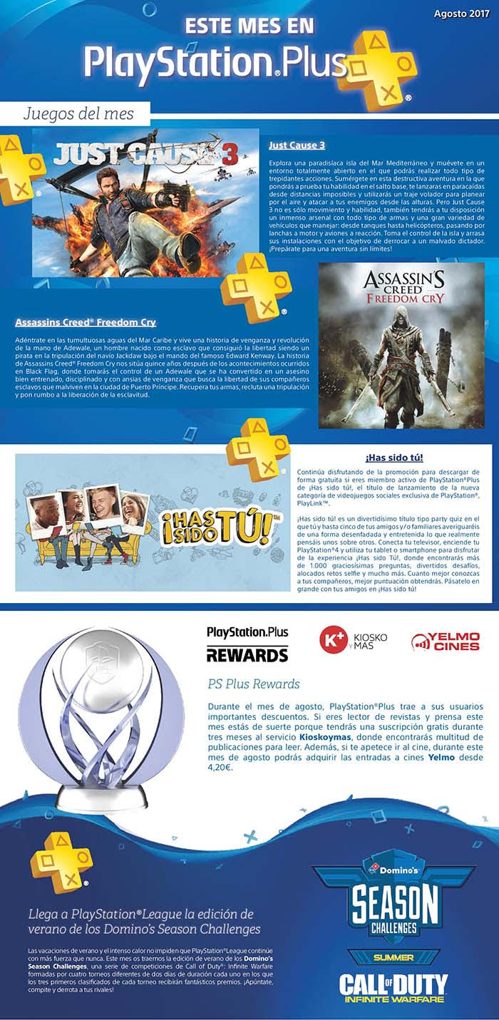 PlayStation Plus juegos gratis en Agosto 2017. Just Cause 3 y Assassins Creed Freedom Cry
