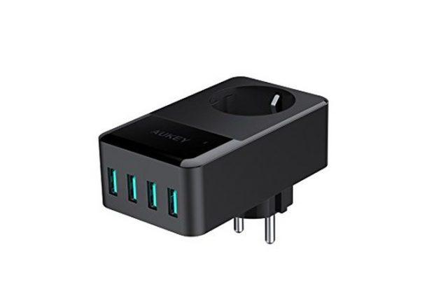 Cargadores Aukey. AUKEY Cargador USB 4 Puertos (5V/2,4A * 4) con una Toma 16A para Smartphone, Lámpara de Escritorio, Portátiles, iPad, etc