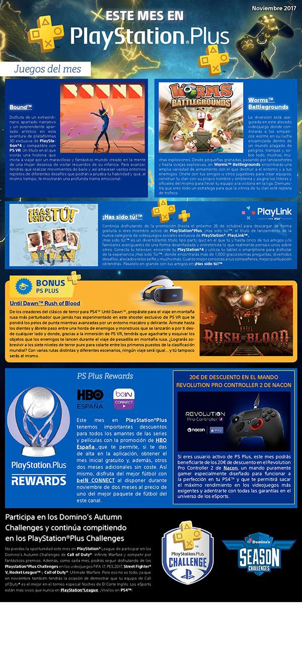 Worms Battlegrounds, Bound y gratuitaUntil Dawn Rush of Blood los juegos gratis en Nobiebre del 2017 con Playstation Plus