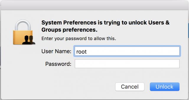 Inicio de sesión del usuario administrador root sin contraseña permitido en Mac OSX High Sierra