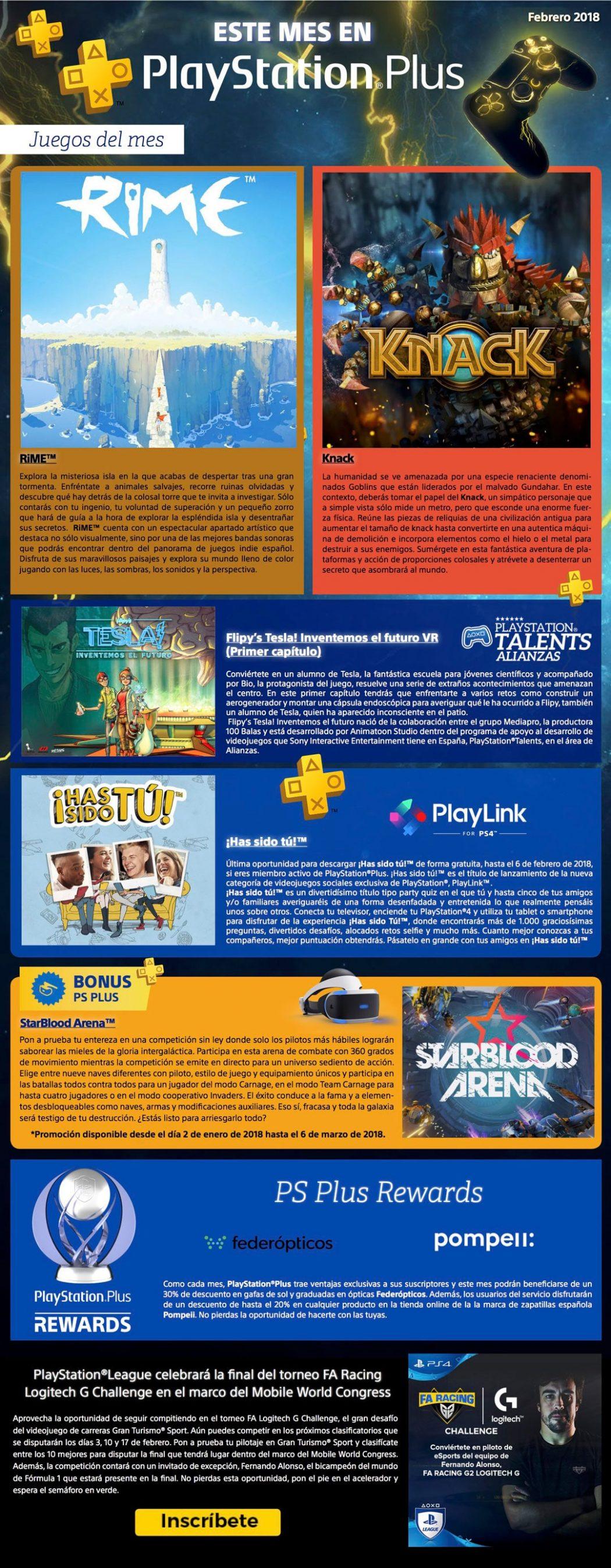 InfografíaJuegos gratis en Febrero de 2018 con Playstation Plus