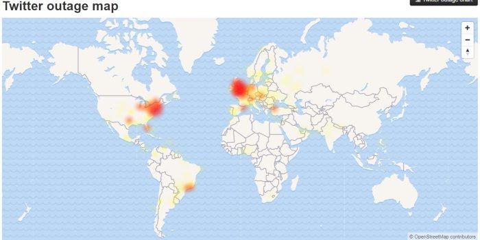 Twitterse ha caído durante la final de la Champions #UCLfinal. Imagen que señala con color los lugares donde se han registrado caídas del servicio -DOWNDETECTOR