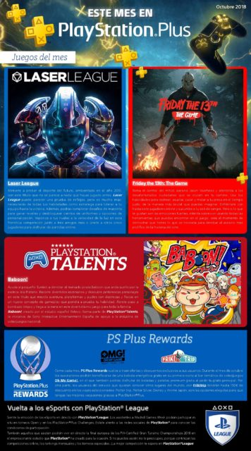 Infografía PlayStation Plus. Los juegos gratis de octubre 2018 Laser League, Friday the 13th: The Game y Baboon!