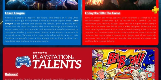 InfografíaPlayStation Plus. Los juegos gratis de octubre 2018 Laser League, Friday the 13th: The Game y Baboon!