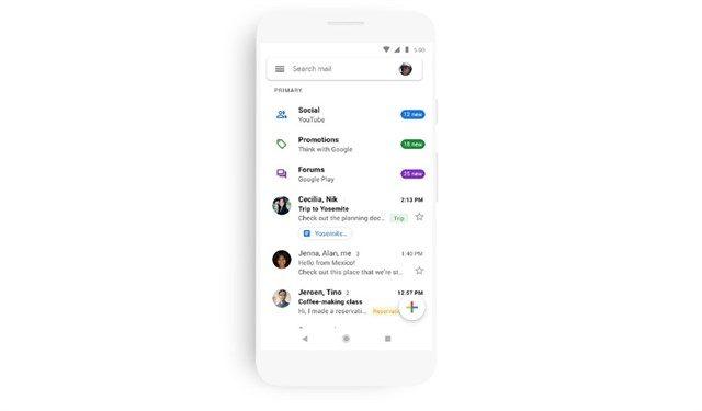El diseño de Gmail con Material Theme aterriza en la versión para móviles
