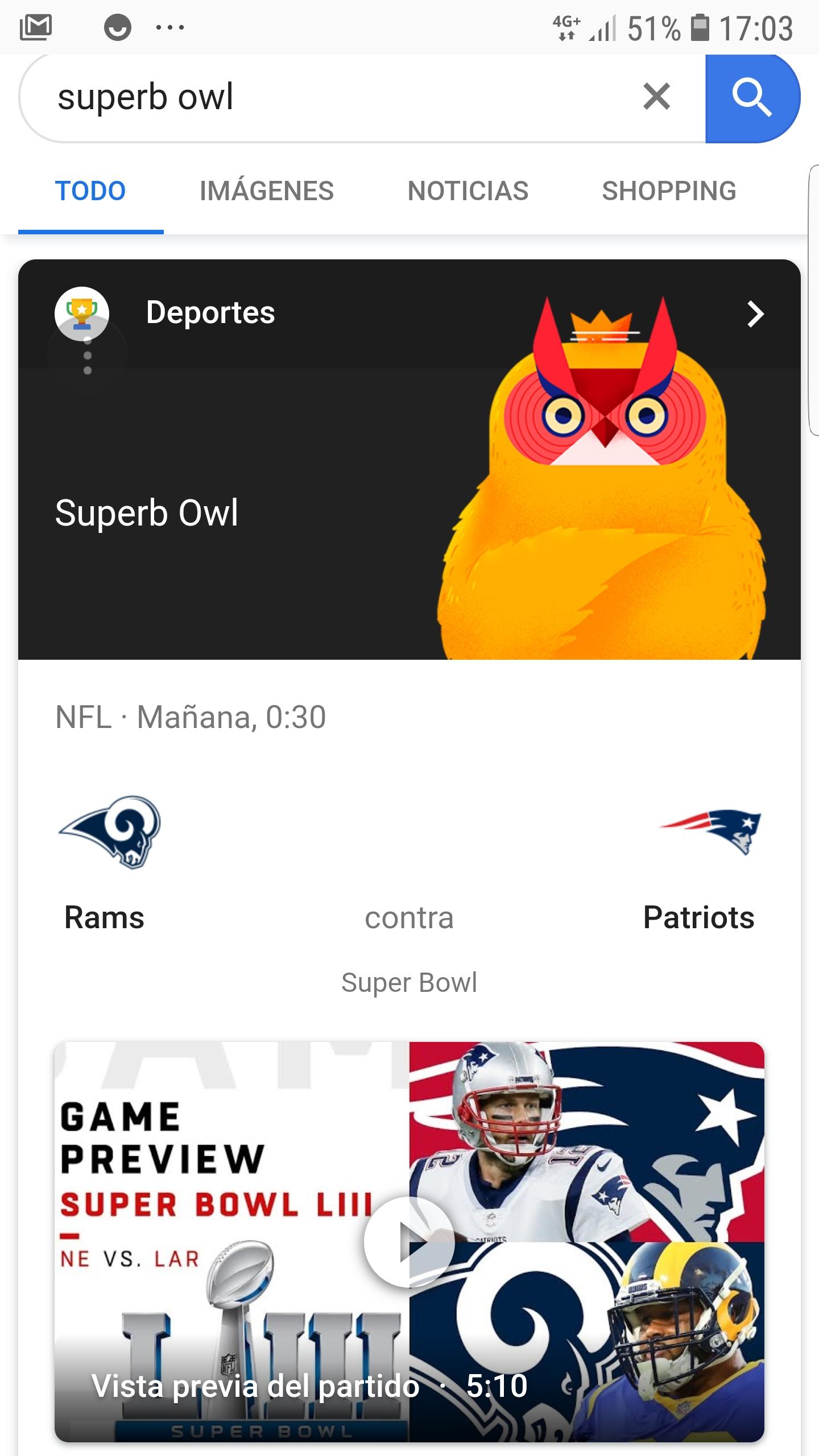 Superb owl la broma de Google con las búsquedas de la Super Bowl
