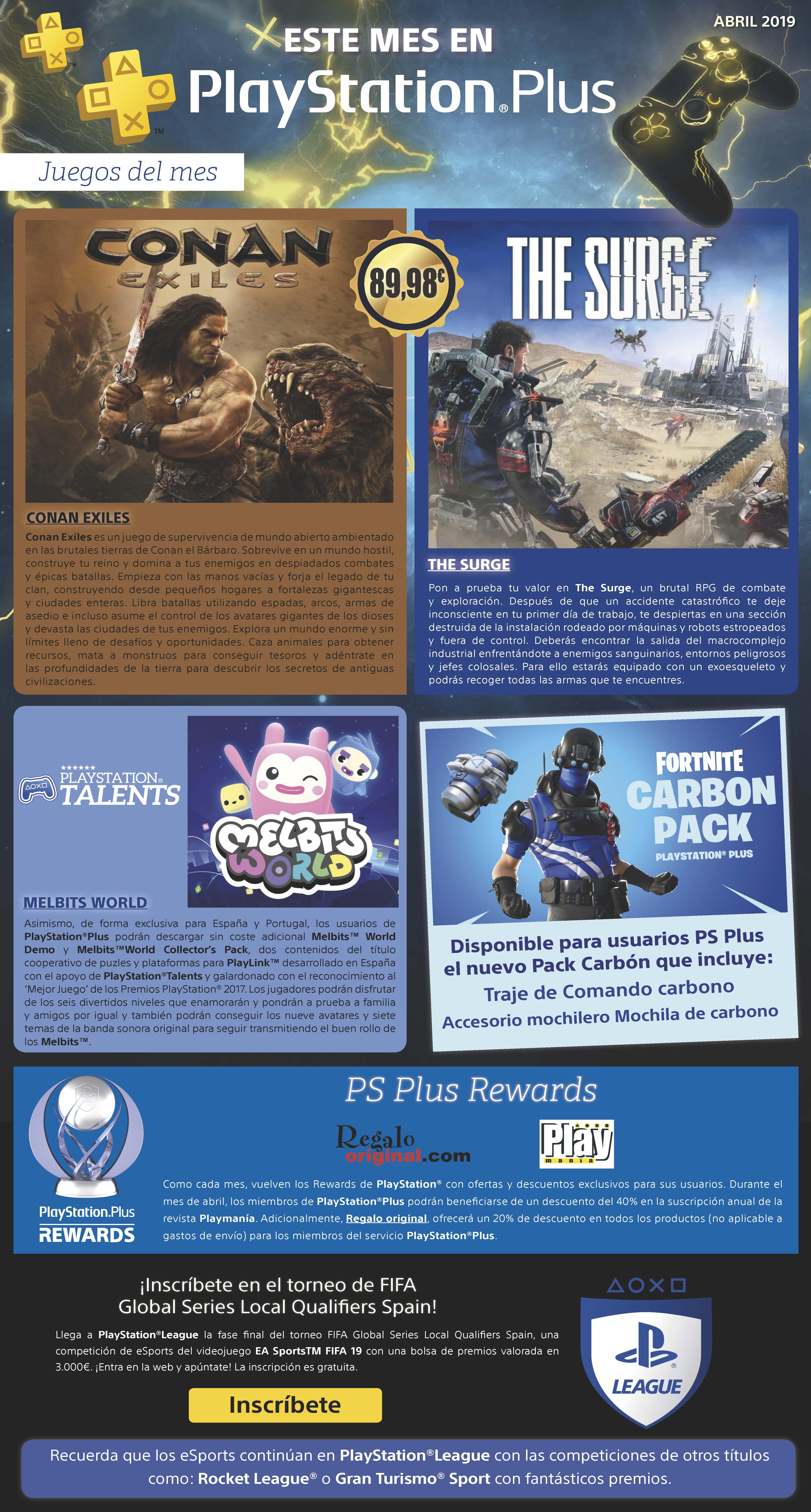 PlayStation Plus de abril del 2019. Gratis los juegosConan Exiles y The Surge