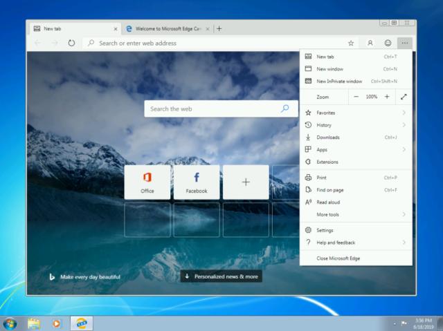 Microsoft Edge basado en Chromium para Windows 10, Windows 7, Windows 8 y Windows 8.1 disponible su descarga Canary
