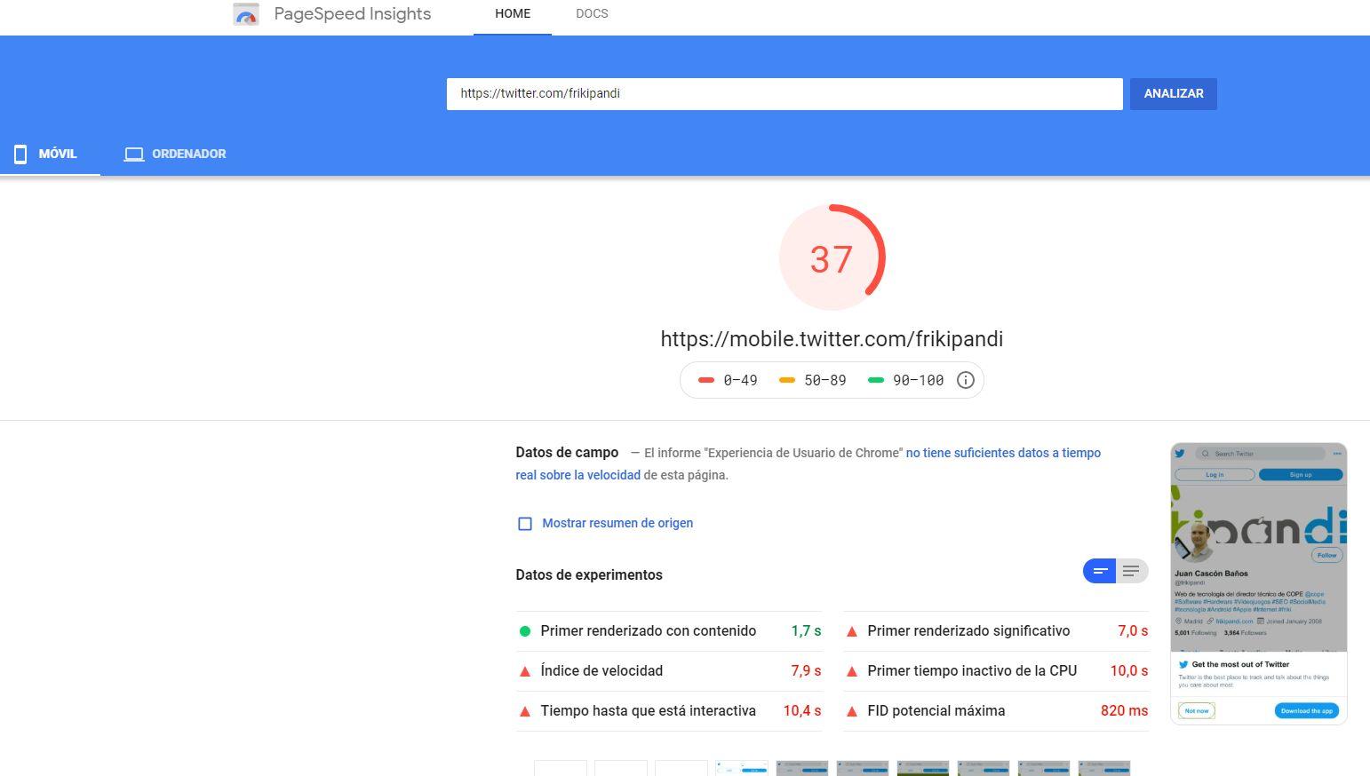 Antiguo diseño de Twitter en Google Page Speed
