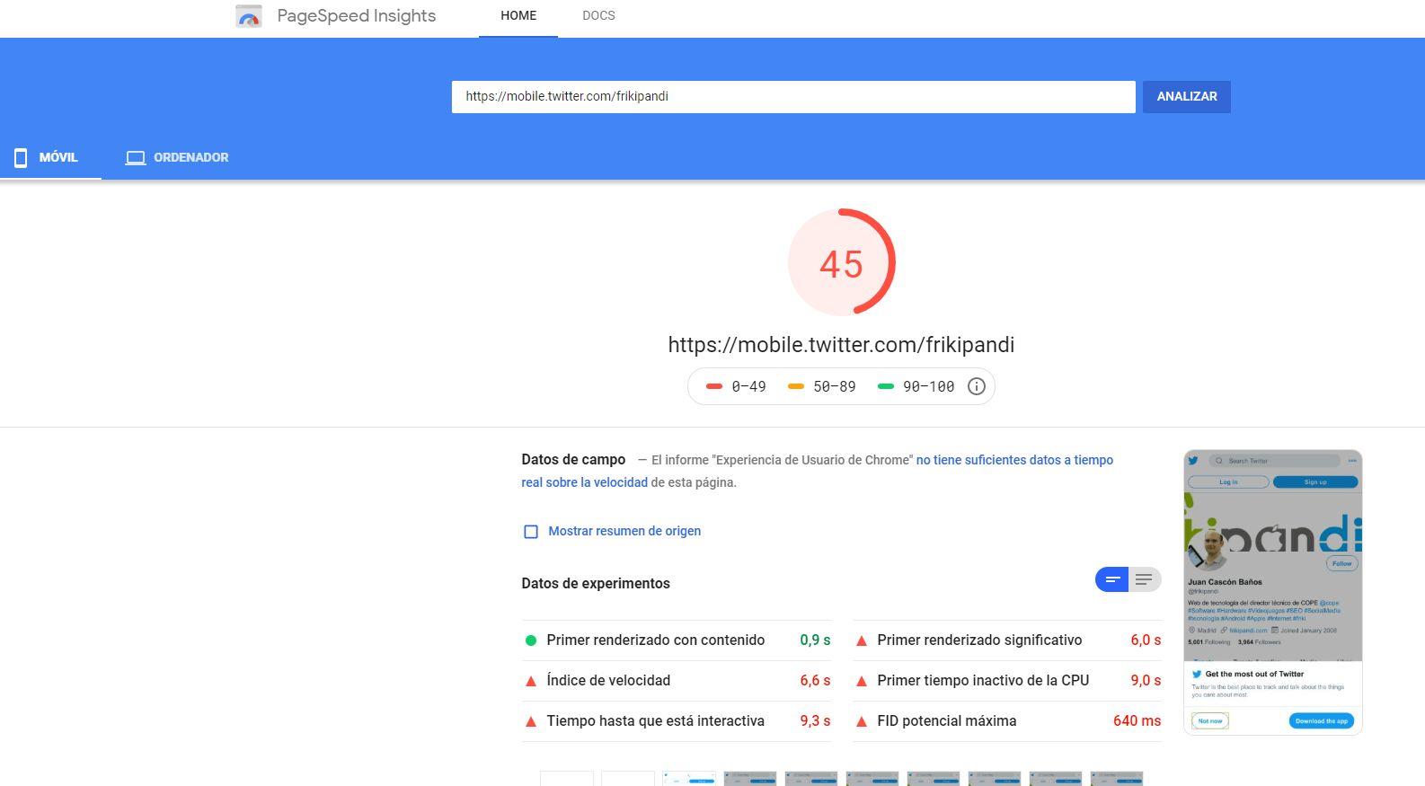 Nuevo diseño de Twitter en Google Page Speed
