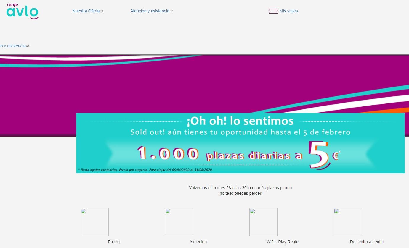 Se cae la página web de Renfe cuando ofrecen los billetes de AVLO a cinco euros