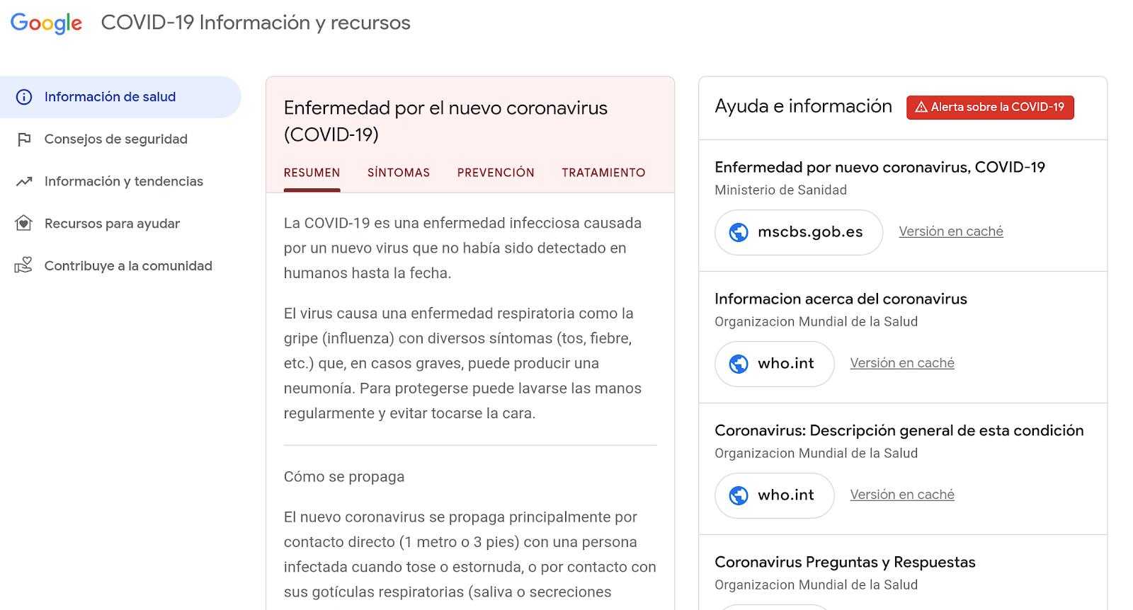 Coronavirus: Cómo ayuda Google en España