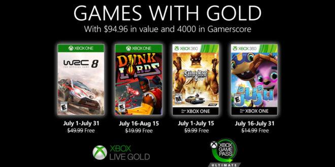 Anunciados los Games with Gold de julio de 2020