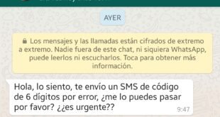 Si recibes un WhatsApp pidiendo un código de WhatsApp no le hagáis caso