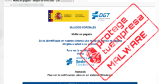 INCIBE se advierte de la campaña de envío de correos electrónicos fraudulentos que tratan de suplantar a la Dirección General de Tráfico (DGT)